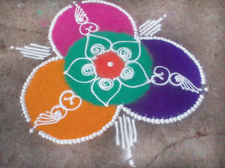 Peacock Rangoli Designs For Diwali