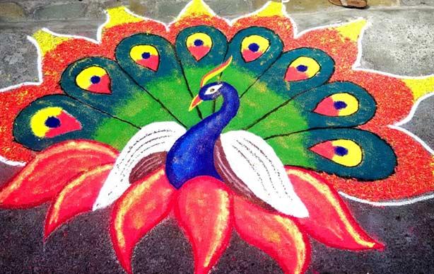 Peacock Rangoli Design Simple Peacock Rangoli