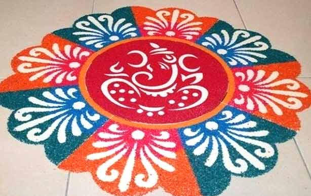 Happy Ganesh Chaturthi PooKolam Pictures for free download